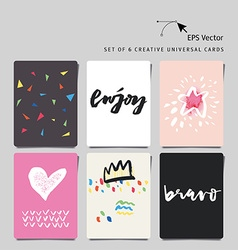 Set of 6 universal creative cards with hand letter vector