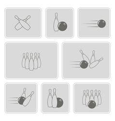 Monochrome set with bowling icons vector