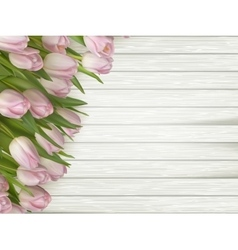 Pink flowers tulips on the light wooden eps 10 vector
