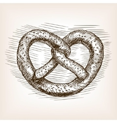 Pretzel hand drawn sketch style vector