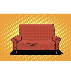 Red sofa then art retro vector