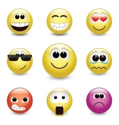 Smiley faces expressing different feelings vector