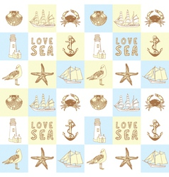 Seaside elements background vector