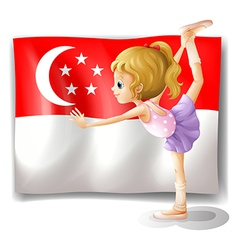 A girl dancing in front of the flag of Singapore vector image vector image