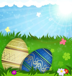 Beige and blue Easter eggs in grass vector image