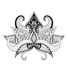 Boho ornamental lotus flower blackwork tattoo vector