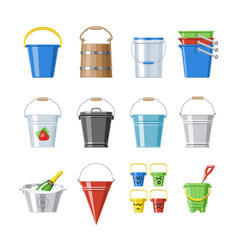 bucket bucketful or wooden pailful and kids vector image