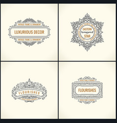 calligraphic design elements vintage vector image vector image