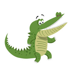 Cartoon crocodile standing with wide open mouth vector