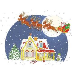 Christmas sleigh of santa claus vector