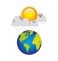 Earth planet with cloud rainning and sun vector