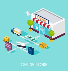 Flat 3d web isometric online shopping E-commerce vector image vector image