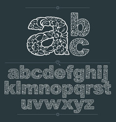 Floral alphabet sans serif letters drawn using vector
