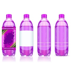 Four plastic bottles of carbonated drink with vector