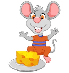 Funny mouse cartoon eating cheese vector