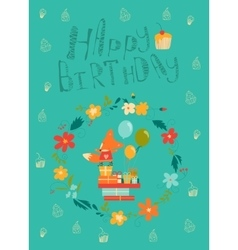Happy birthday card with cute fox in wreath vector image