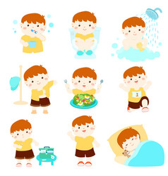 Healthy hygiene for boy cartoon vector