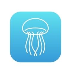 Jellyfish line icon vector image