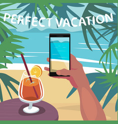 Man on holiday making photo of beach on smartphone vector