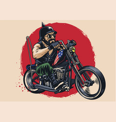 man riding a chopper motorcycle vector image vector image
