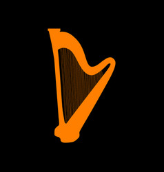 Musical instrument harp sign orange icon on black vector
