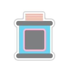 Paper sticker on white background tribune judge vector