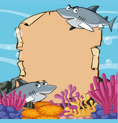 paper template with sharks in ocean vector image