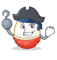 Pirate rambutan character cartoon style vector