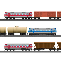 Powerful modern trains with carriages for natural vector
