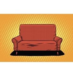 Red sofa then art retro vector