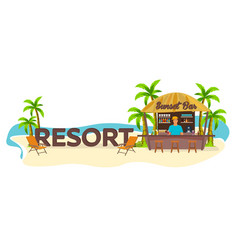 resort travel palm drink summer lounge chair vector image vector image