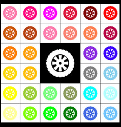 Road tire sign felt-pen 33 colorful icons vector
