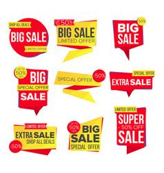 sale banner set website stickers color vector image vector image