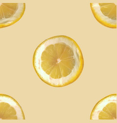 Seamless background with slices of lemon vector