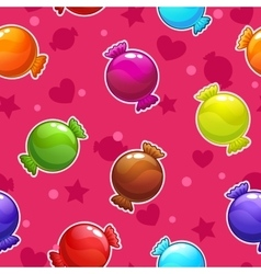 Seamless pattern with cartoon colorful candies vector image vector image