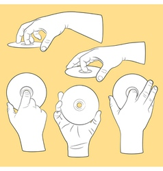 Set of human hands with CDs vector image