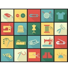 Sewing equipment icons set with thimble needle vector