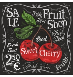 Sweet cherry logo design template fresh vector