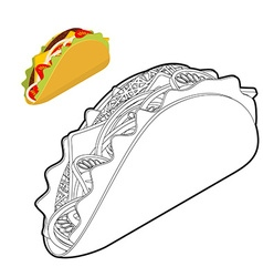 Taco coloring book traditional mexican food in vector