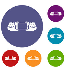 Two hands holding mobile phone icons set vector