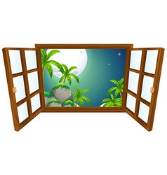 Window view with mountain at night vector