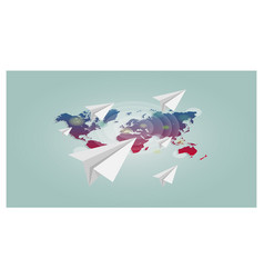 world map with paper planes background vector image vector image