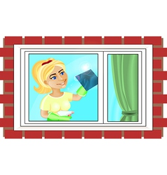 Young woman is washing the window vector