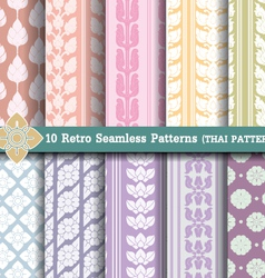 10 Retro Seamless Patterns vector image