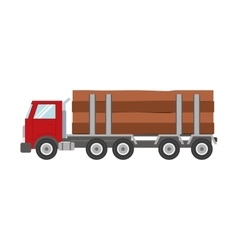 Truck wood transportation delivery icon vector