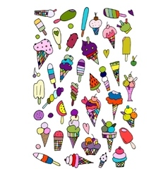 Icecream collection sketch for your design vector