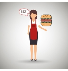 Woman chef food meal vector