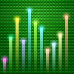 Colorful beams with green background vector