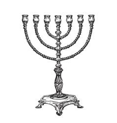 Menorah for Hanukkah Sketch vector image