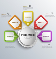 Info graphic with design colorful pointers around vector